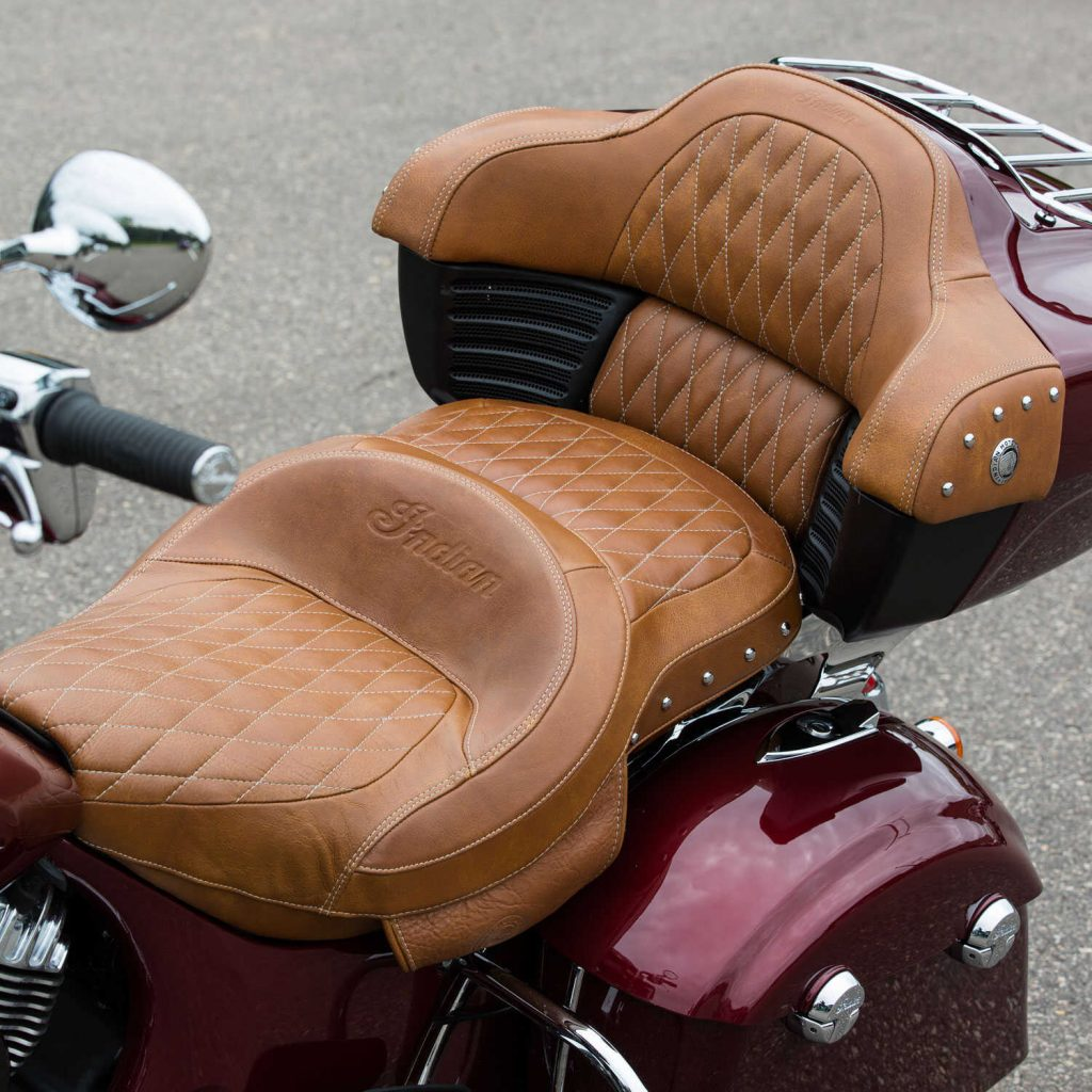 Specifications ColorDesert Tan MaterialGenuine Leather Convenience FeaturesWorks with Quick Release Passenger Sissy Bar Ease Of InstallationMedium Does Not Work With2879542-02, 2879543, 2879542-06 Installation RecommendationReplaces the stock seat; heating element plugs into the Indian Motorcycle® wiring harness Care And CleaningPlease see your Indian Motorcycle® Rider's Manual for specific cleaning and maintenance instructions. Warranty1 Year From Date of Purchase