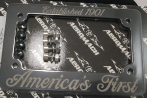"""CI-2010B Black License Plate Frame - Engraved with """"Established 1901"""" and """"America's First"""" Standard U.S. Plates"""