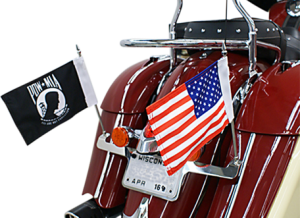 Lay-down license plate bracket & double flag holder for Indian Chief, Chieftain, Roadmaster 2014 & Newer
