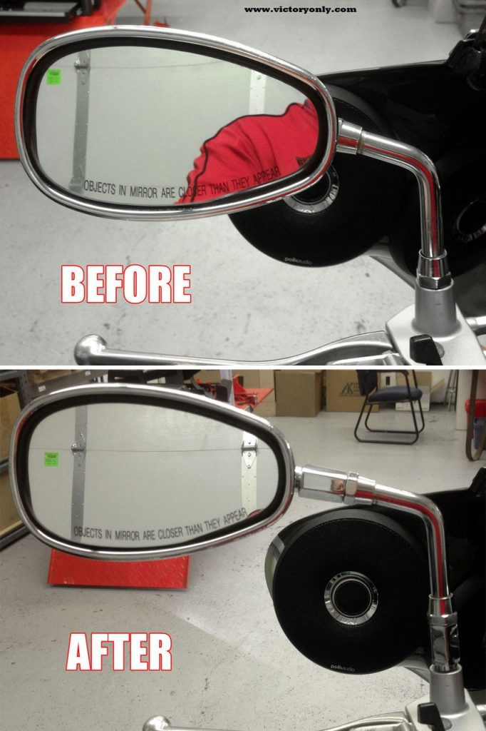 """These Mirror Extender sets are designed to add height and/or move the mirror outward so you can have more view of the road behind you instead of your shoulder. The 1"""" extender will move all STOCK mirrors upward and/or move outward. AFTERMARKET mirrors will only be moved upward since most do not have the same type end going into the mirror itself. This set is CNC machined to exact tolerances from solid 6061-T6 billet aluminum. TRUE CHROME PLATING- Not just a paint or anodizing but a tough, long-lasting chrome plated set. or choose BLACK POWDER-COAT - Not just a paint or anodizing but a tough, long-lasting powder coat set. See the Whole Road Behind You! No More Looking Around Your Shoulder Tough, Long-Lasting Chrome Finish CNC Machined Billet 6061-T6 Aluminum Easy Bolt-on Installation Comes with installation instructions 100% MADE IN THE USA!"""