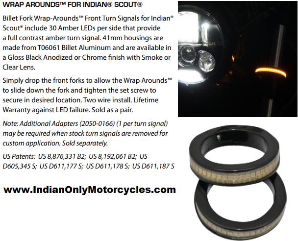 Indian Scout / FTR1200 Billet Wrap around LED Front turn Signals Chrome / Black