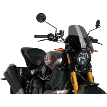 """PRODUCT NAME WINDSHIELD TYPE NAKED BIKE MODEL NEW GENERATION COLOR/FINISH DARK SMOKE MATERIAL ACRYLIC (PMMA) HEIGHT 33.5 CM / 13-1/4"""" WIDTH 31.5 CM / 12-3/8"""" THICKNESS 5/32"""" UNITS EACH RIDING STYLE STREET BASE COLOR GRAY Package info WEIGHT 2.25 LBS HEIGHT 3.9 LENGTH 14.7 WIDTH 12.7"""