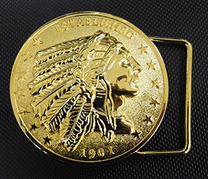 "Belt Buckle Inspired by the US coin, our belt buckle has the Indian profile and ""Established 1901"" as part of the design. Similar to our horn cover medallion, power button covers and dipstick coin. *Belt not included Imported"