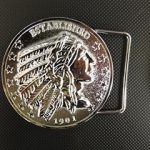 """Inspired by the US coin, our belt buckle has the Indian profile and """"Established 1901"""" as part of the design. Similar to our horn cover medallion, power button covers and dipstick coin. *Belt not included Imported"""