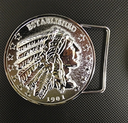 "Inspired by the US coin, our belt buckle has the Indian profile and ""Established 1901"" as part of the design. Similar to our horn cover medallion, power button covers and dipstick coin. *Belt not included Imported"